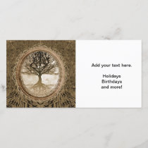 Brown Tree of Life Pattern Holiday Card