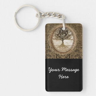 Brown Tree of Life Pattern Keychain