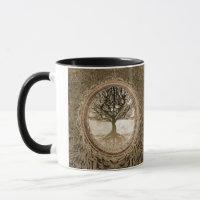 Brown Tree of Life Pattern Mug