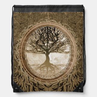 Brown Tree of Life Pattern Drawstring Backpacks