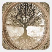 Brown Tree of Life Pattern Square Sticker (<em>$5.25</em>)