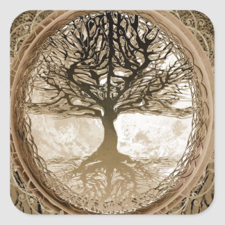 Brown Tree of Life Pattern Square Sticker