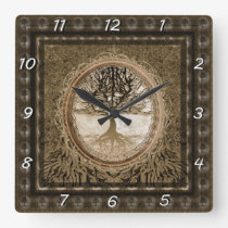 Brown Tree of Life Pattern Square Wall Clock