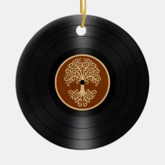 Brown Tree of Life Vinyl Record Graphic Ceramic Ornament