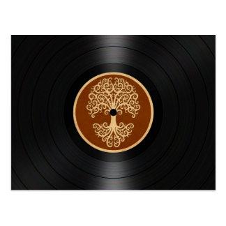 Brown Tree of Life Vinyl Record Graphic Postcard