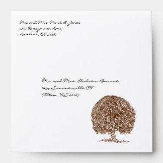 Brown Tree Wedding Envelopes