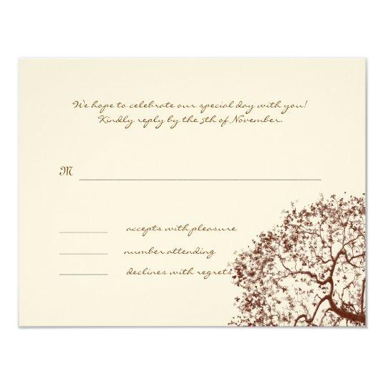 Brown Tree Wedding Monogram Response Card