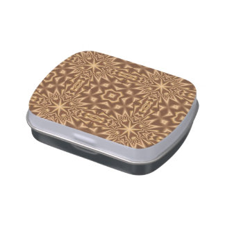Brown trendy pattern jelly belly tins