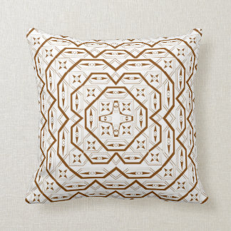 Brown Tribal Lines Throw Pillow