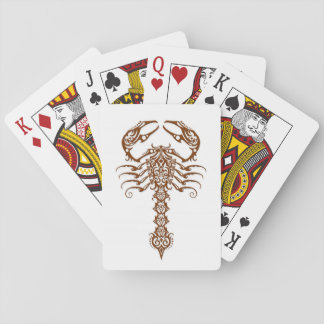 Brown Tribal Scorpion on White Playing Cards