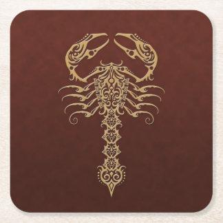 Brown Tribal Scorpion Square Paper Coaster