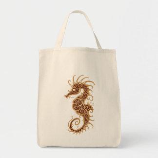 Brown Tribal Seahorse Tote Bag