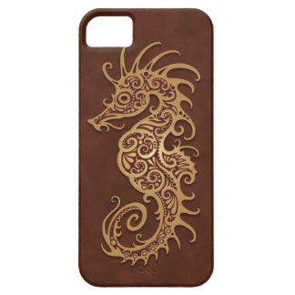 Brown Tribal Seahorse Case For The iPhone 5