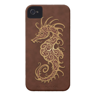 Brown Tribal Seahorse Case-Mate iPhone 4 Cases