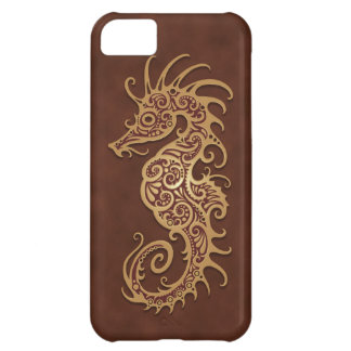 Brown Tribal Seahorse Case For iPhone 5C