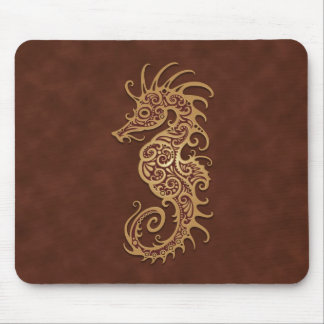 Brown Tribal Seahorse Mouse Pad