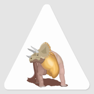 Brown Triceratops Dinosaur Triangle Sticker