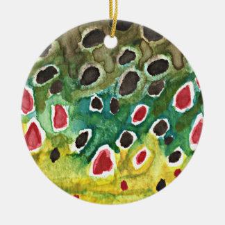 Brown Trout Fish Ceramic Ornament
