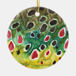 Brown Trout Fish Double-Sided Ceramic Round Christmas Ornament