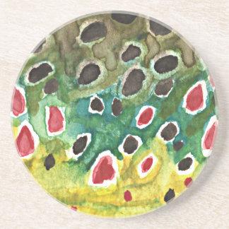 Brown Trout Fish Sandstone Coaster