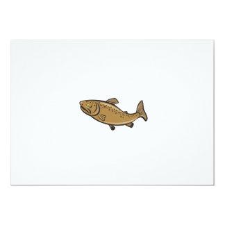 Brown Trout Fish Side Cartoon 5x7 Paper Invitation Card