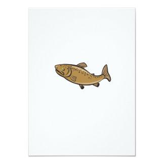 Brown Trout Fish Side Cartoon 4.5x6.25 Paper Invitation Card