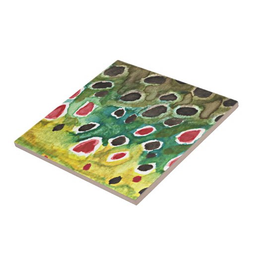 Brown Trout Fish Small Square Tile