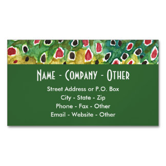 Brown Trout Fisherman's Business Card Magnet