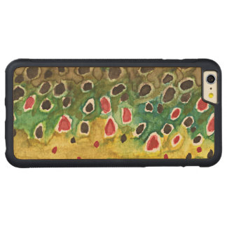 Brown Trout Fishing Carved Maple iPhone 6 Plus Bumper Case