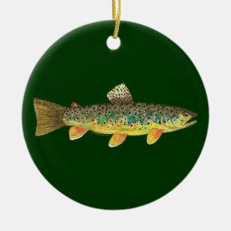 Brown Trout Fishing Ceramic Ornament