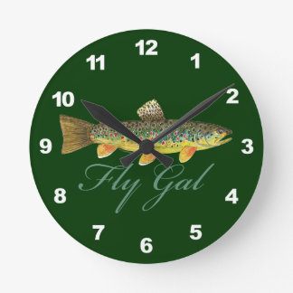 Brown Trout Fishing Round Wall Clock