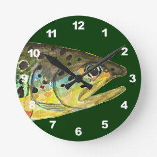 Brown Trout Fishing Wall Clocks