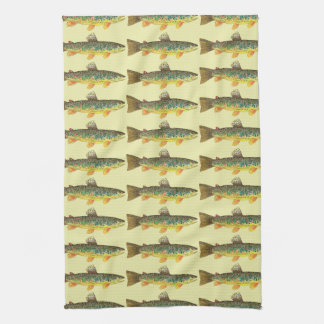 Brown Trout Fishing,f Kitchen Towel