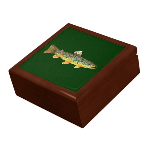Brown trout fishing gift box zazzle for Fishing gift box