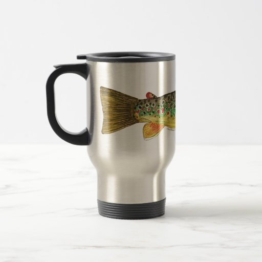 Brown Trout Fishing 15 Oz Stainless Steel Travel Mug