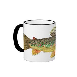 Brown Trout Fishing Ringer Coffee Mug