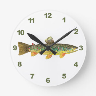 Brown Trout Fishing Round Clock
