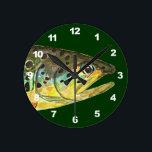 "Brown Trout Fishing Round Clock<br><div class=""desc"">.</div>"