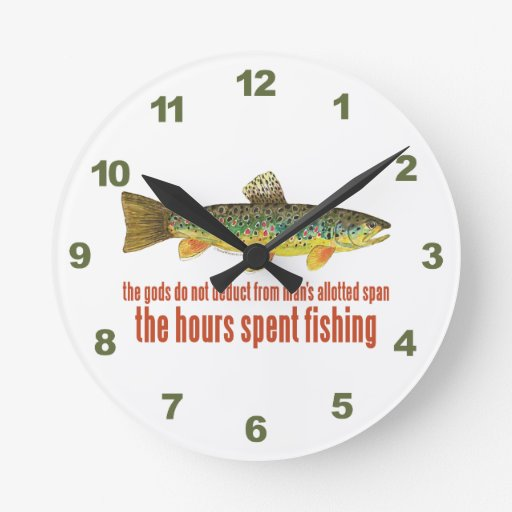 Brown Trout Fishing Round Clocks