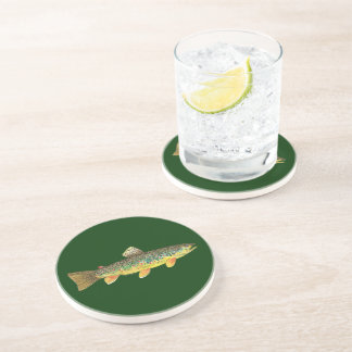 Brown Trout Fishing Sandstone Coaster