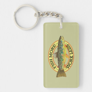 Brown Trout Fishing Single-Sided Rectangular Acrylic Keychain
