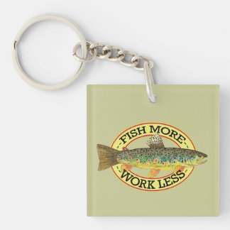 Brown Trout Fishing Single-Sided Square Acrylic Keychain