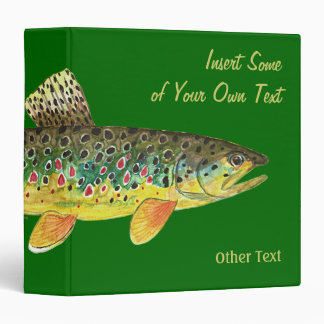 Brown Trout Fly Fishing 3 Ring Binder