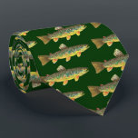 """Brown Trout Fly Fishing Fisherman Tie<br><div class=""""desc"""">Just the fish, the whole fish, and nothing but the fish. This unique necktie features the Brown Trout, salmo trutta fario - richly colored, beautifully patterned, just as nature painted it. The background is a dark green color but you can change it via the &quot;Customize&quot; link.&#160;The art is from an...</div>"""