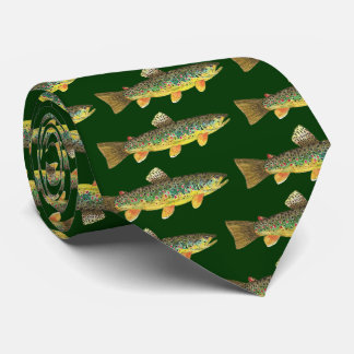 Brown Trout Fly Fishing Fisherman Tie
