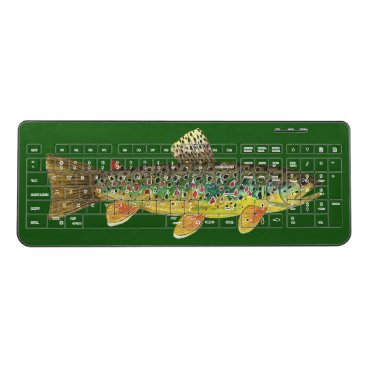 Professional Business Brown Trout Fly Fishing Home or Business Wireless Keyboard