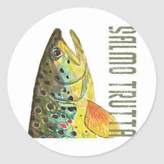 Brown Trout Ichthyology, Fishing, Fly Fishing Classic Round Sticker