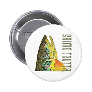 Brown Trout Ichthyology, Fishing, Fly Fishing Pinback Button