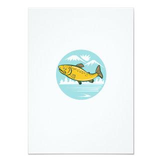 Brown Trout Jumping Circle Cartoon 4.5x6.25 Paper Invitation Card