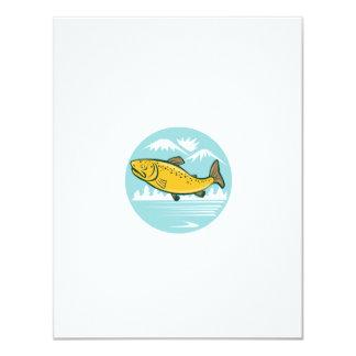 Brown Trout Jumping Circle Cartoon 4.25x5.5 Paper Invitation Card